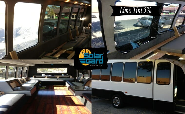 Recreational vehicle tinted in 5 Solar Gard limo tint